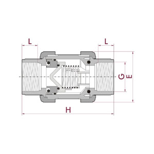FT5 - Spring check valve, CORZAN PVC-C body, BSP female thread, ...
