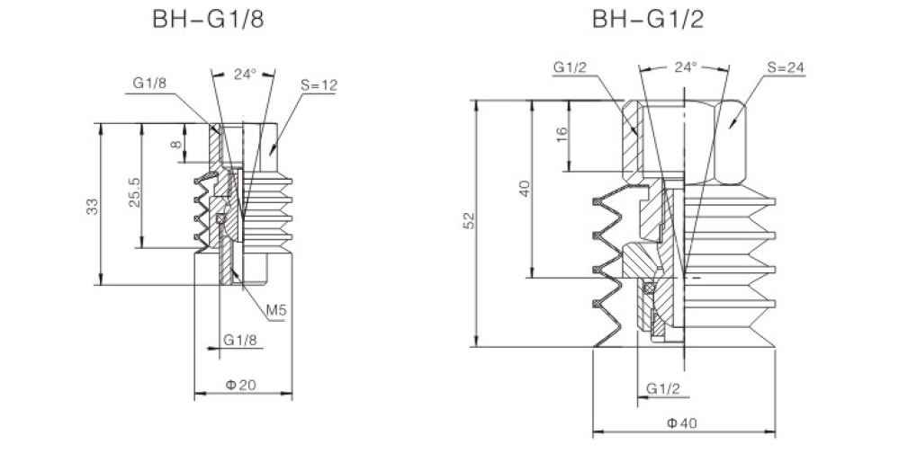 Ball Joint BH-G1/8 Dimensions 2D