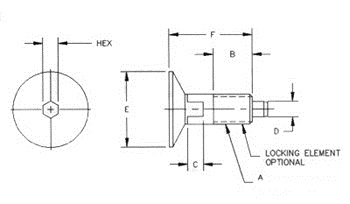 hex drive knob plunger, imperial units, no locking element Technical drawing 2D