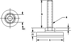 non-swiveling level star, imperial units Technical drawing 2D
