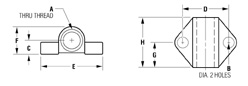 tooling flange, imperial units Technical drawing 2D