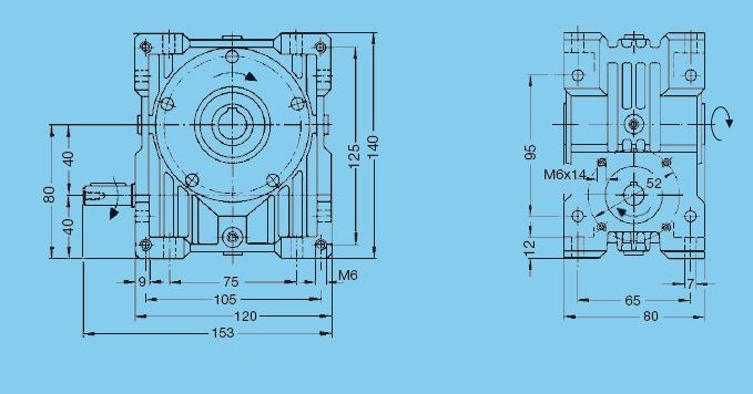 Worm gear unit, series 56, center distance 40 mm, Input shaft Dimensional drawing - Basic gear unit with solid input shaft 1 2D