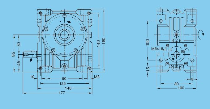 Worm gear unit, series 56, center distance 50 mm, Input shaft Dimensional drawing - Basic gear unit with solid input shaft 1 2D