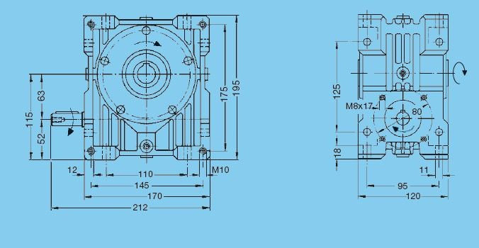 Worm gear unit, series 56, center distance 63 mm, Input shaft Dimensional drawing - Basic gear unit with solid input shaft 1 2D