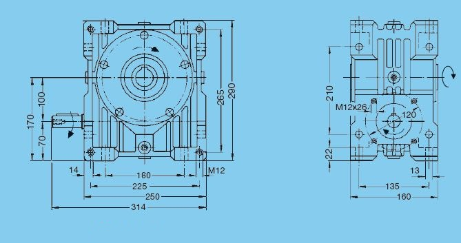 Worm gear unit, series 56, center distance 100 mm, Input shaft Dimensional drawing - Basic gear unit with solid input shaft 1 2D