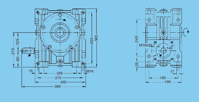 Worm gear unit, series 56, center distance 125 mm, Input shaft Dimensional drawing - Basic gear unit with solid input shaft 1 2D