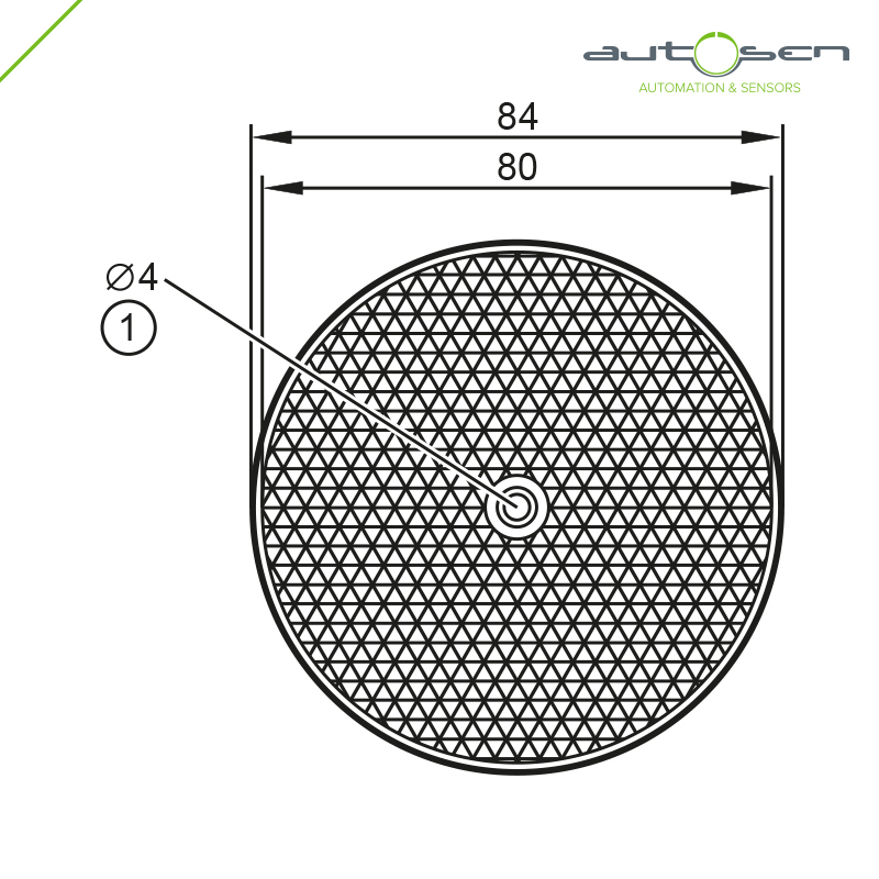 AA950 - Prismatic reflector 80mm For retro-reflective sensors Dimensional drawing 2D