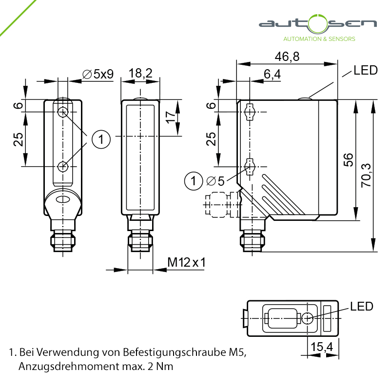 AO007 - Photoelectric sensor with PA housing Through-beam sensor transmitter - M Dimensional drawing 2D