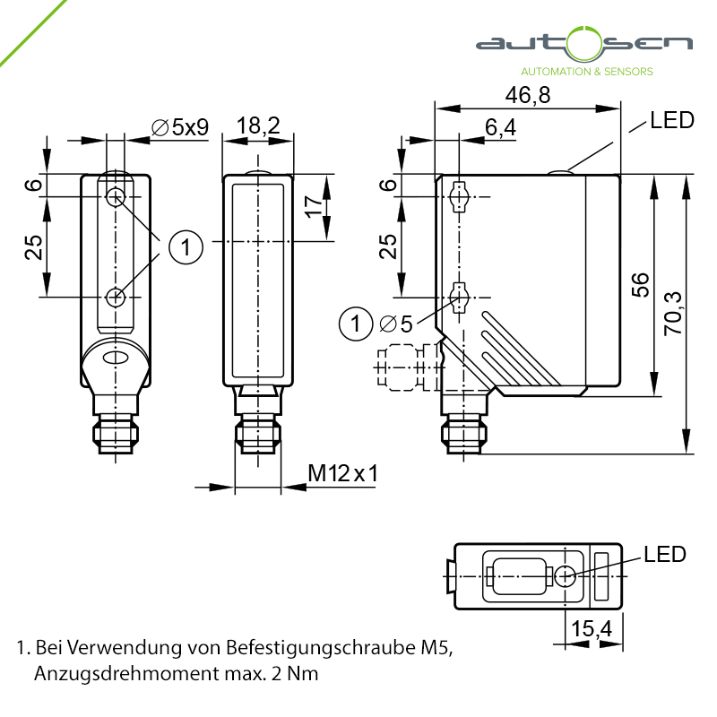 AO008 - Photoelectric sensor with PA housing Through-beam sensor  receiver – M12 Dimensional drawing 2D