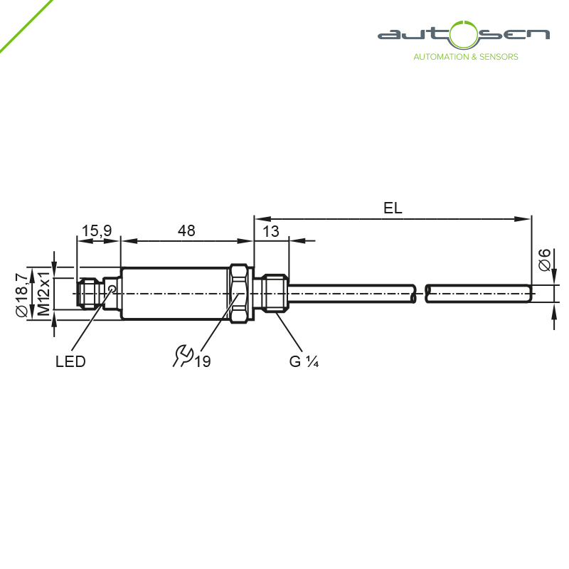 AT002, Temperature transmitter G 1/4 50 mm - analogue output -50...150 °C M12 Dimensional drawing 2D