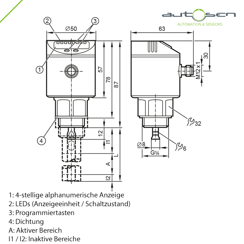 AF003 - electronic level sensor Gef. microwave - 2 outputs - G 3/4 male - M12 Dimensional drawing 2D