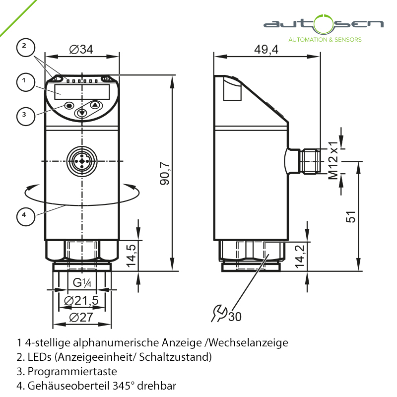 AP007, Electronic pressure sensor programmable G 1/4 - 2 switching outputs with Dimensional drawing 2D