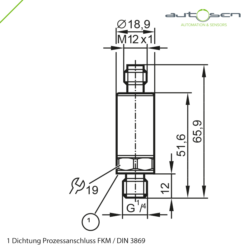 AP016 - Electronic pressure sensor G 1/4 male - analogue output 0...10 bar M12 Dimensional drawing 2D