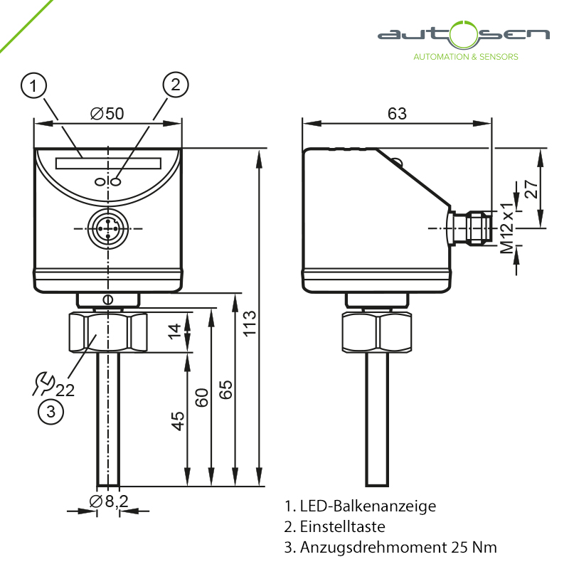 AS001, Flow monitor - 45 mm probe length - 2 switching outputs - 3...300 cm/s Dimensional drawing 2D