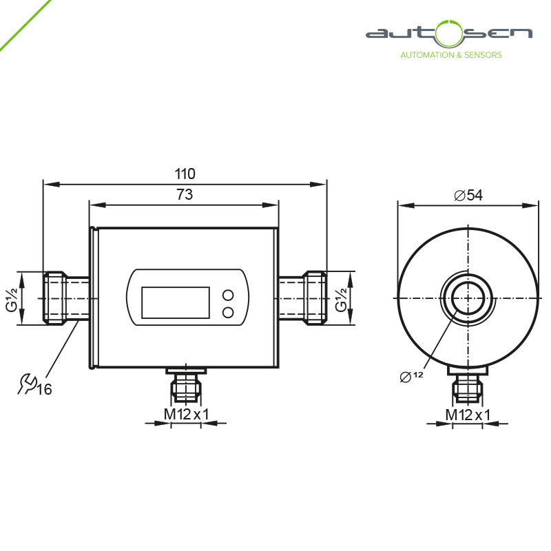 AS002, 	Flow sensor programmable G 1/2 - 2 outputs with Analogue output 0.1...25 Dimensional drawing 2D