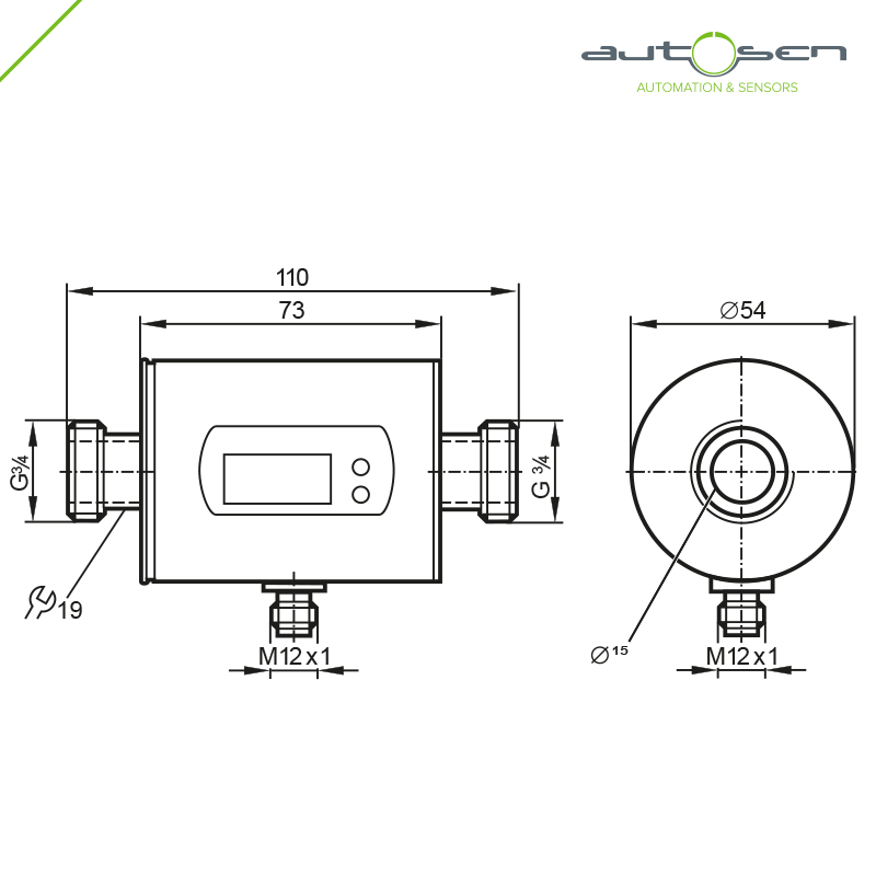 AS003, Flow sensor programmable G 3/4 - 2 outputs with Analogue output 0.2...50 Dimensional drawing 2D