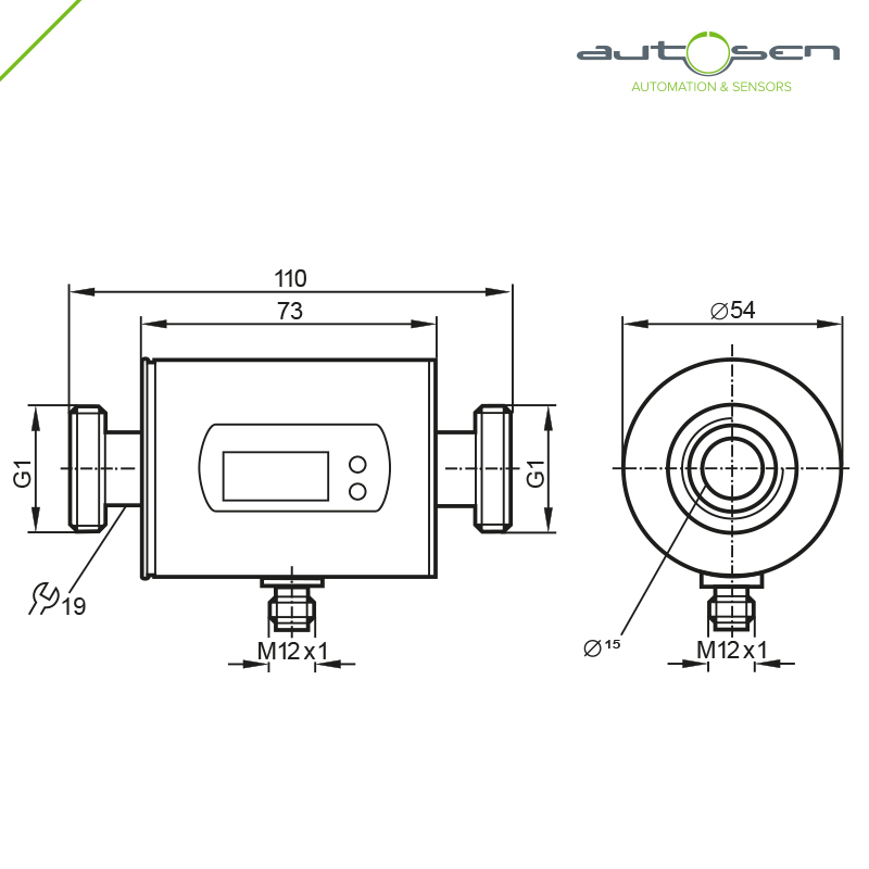 AS004, 	Flow sensor programmable G 1 - 2 outputs with Analogue output 0.2...100 Dimensional drawing 2D
