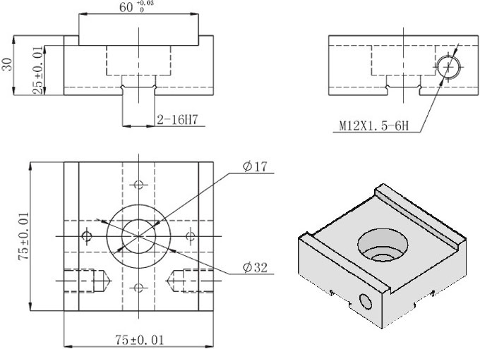 Square Guide Bearing D420205 Dimension 2D