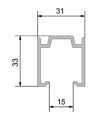 Sliding door guide profile Dimensional drawing 2D