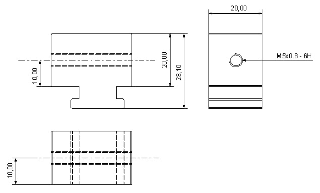 MTB-40/50-X - Mounting Block Dimensional drawing 2D
