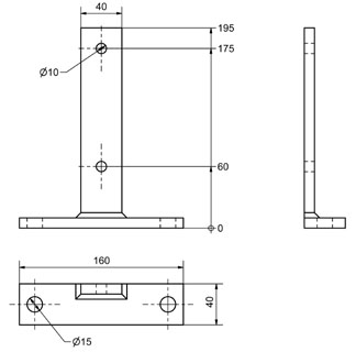 BWT-40 - T-Steel foot plate Dimensional drawing 2D