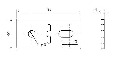 VP-40 - Connection plate Dimensional drawing 2D