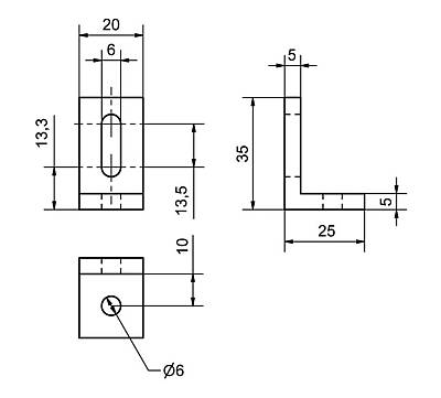 W-35/25 - Gusset Dimensional drawing 2D