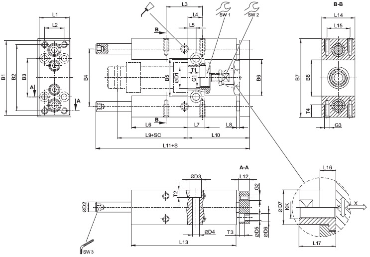 Guide unit, GH2 - Ø 12 - 25 mm - Linear ball bearing - For standard cylinders ISO 6432, piston diameter = 12 mm Dimensional drawing 2D