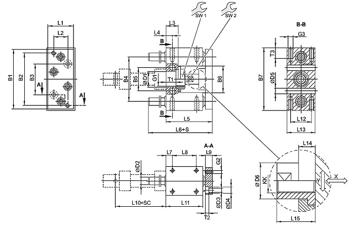 Guide unit, GU1 - Plain bearing - For standard cylinders ISO 6432, Ø 12 - 16 mm, piston diameter = 12 mm Dimensional drawing 2D