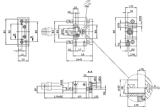 Guide unit, GU1 - Plain bearing - For standard cylinders ISO 6432, Ø 20 - 25 mm, piston diameter = 20 mm Dimensional drawing 2D