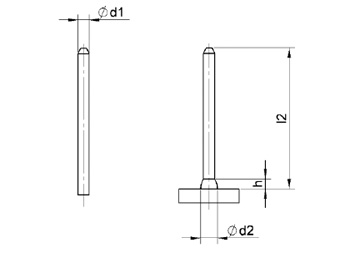 ISA/CI Insulation pins - Ø3 - welded length: 35 mm - Steel 4,8 Sizes 2D