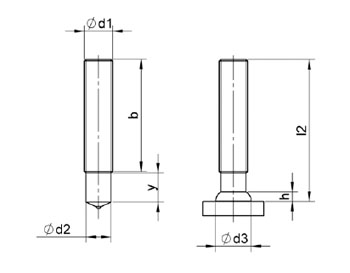 PD studs - M6 - welded length: 15 mm - Steel 4,8 Sizes 2D