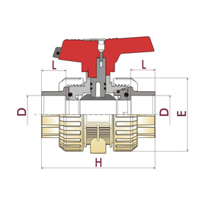 [IND] ball valve, PP-H body, Fusion socket, O-Rings in EPDM, PPH. 73IN. FTF6 - D: 20, Code: 36786 Diagram 2D
