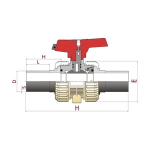 [IND] ball valve, PP-H body, Butt welding - PE 100 / SDR 11, O-Rings in FPM (Viton), PPH. 73IN. BW7 - D: 20, Code: 39763 Diagram 2D