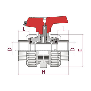 [IND] ball valve, PP-H body, Fusion socket, O-Rings in FPM (Viton), PVDF. 73IN. FTF7 - D: 20, Code: 36813 Diagram 2D