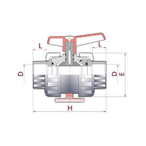 'Industrial' ball valve, PVC-U body, BSP female thread , Metric series, Seating joints in PTFE (Teflon®), O-Rings in EPDM, Black dot, UP.73.SF6 - G:3/8