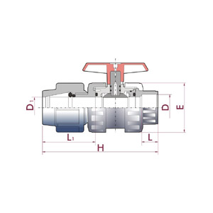 PN 10 ball valve, PVC-U body, PE connection x female solvent socket, Metric series, Seating joints in HDPE, O-Rings in EPDM, UP. 63. PESF5 - D - D1: 16 - 16, Code: 05363 Diagram 2D
