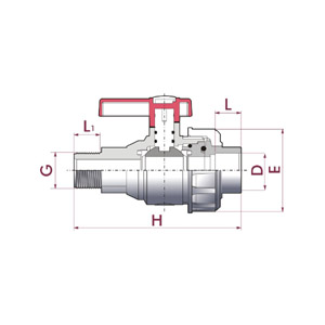 Uniblock ball valve, PVC-U body, BSP male thread body & female solvent socket union, Seating joints in HDPE, O-Rings in EPDM, UP. 70M. SF5 - G - D: ½