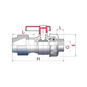 Uniblock ball valve, PVC-U body, PE connection & BSP female thread union, Seating joints in HDPE, O-Rings in EPDM, UP. 70PE. FT5 - G - D: ½