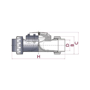 Hydraulic valve D63, PVC-U body, Female solvent socket, Metric series, Diaphragm in NBR, UP. 71. SF1 - D: 63, Code: 11462 Diagram 2D