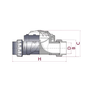 Hydraulic valve D90, PVC-U body, Female solvent socket, Metric series, Diaphragm in NBR, UP. 71. SF2 - D: 90, Code: 27500 Diagram 2D