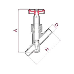 Angle seat regulator valve, PVC-U body, Male solvent socket, Metric series, O-Rings in EPDM, UP. 75. SM - D: 20, Code: 22886 Diagram 2D