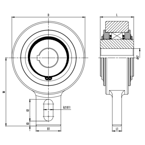 Self-centring free wheels GVG Dimensioned drawing 2D