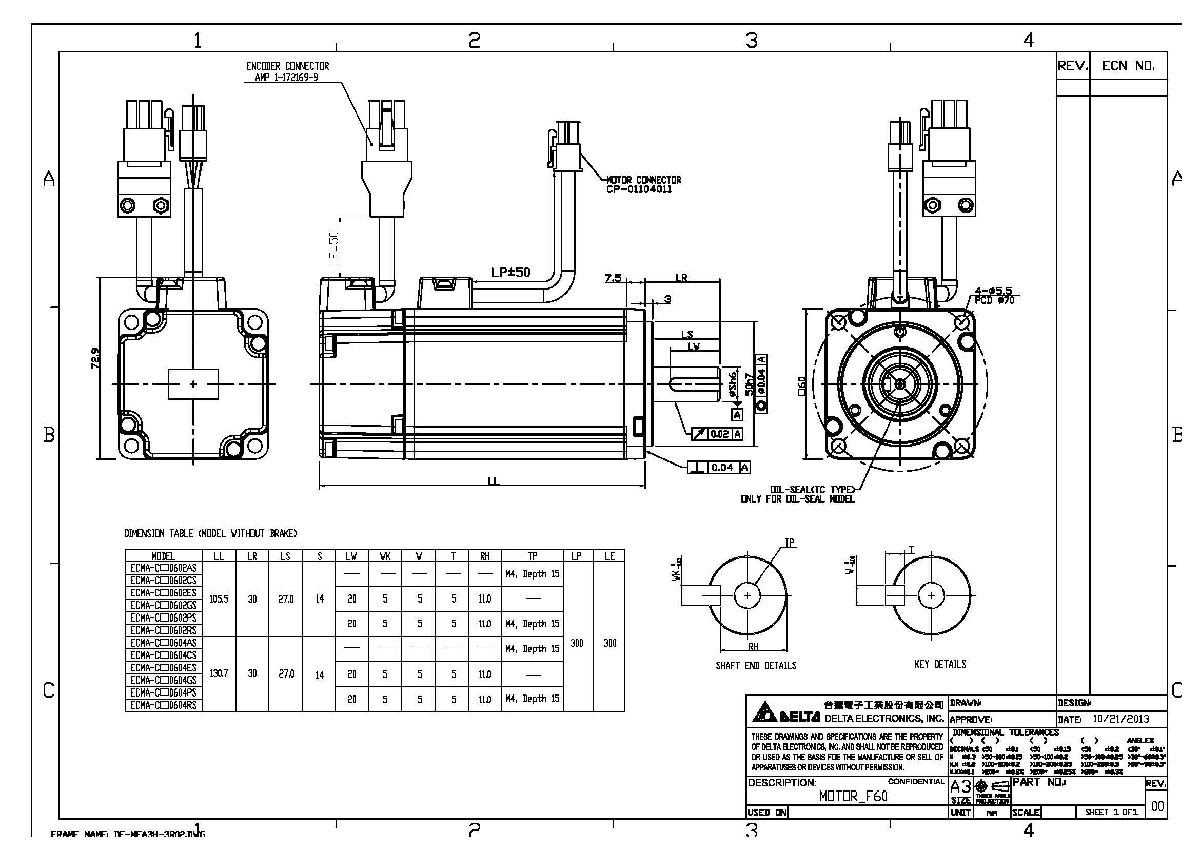 ecma series servo motorswithout brake frame size 60mm ecma c10602as dimension 2d - Motor Frame Sizes