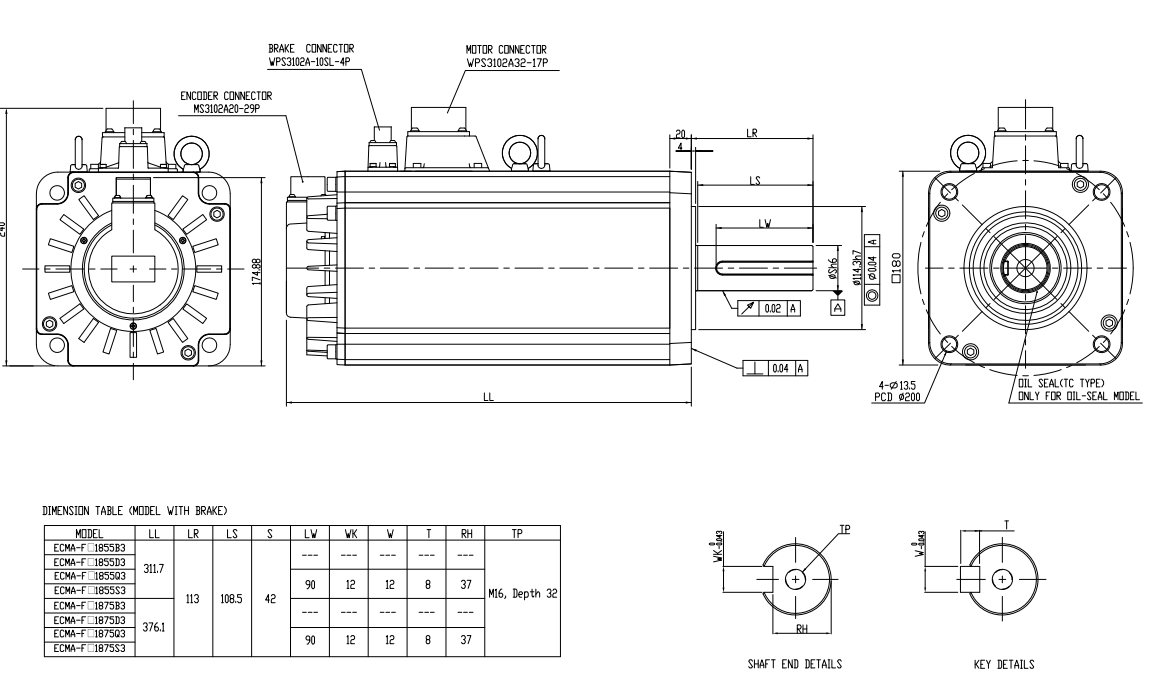 ecma series servo motorswith brake frame size 180mm ecma f11855b3 dimension 2d - Motor Frame Sizes
