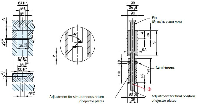 Early ejector return assembly ER Dimensional drawing 2D