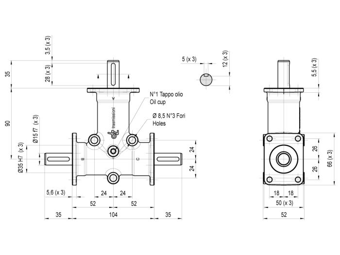 MOD. DZ Inox - Size 2, 3 Flanges Dimensioned drawing 2D