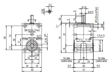 MOD. DZ 600 - 61 Dimensioned drawing 2D