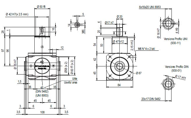 MOD. DZ 930 Dimensioned drawing 2D