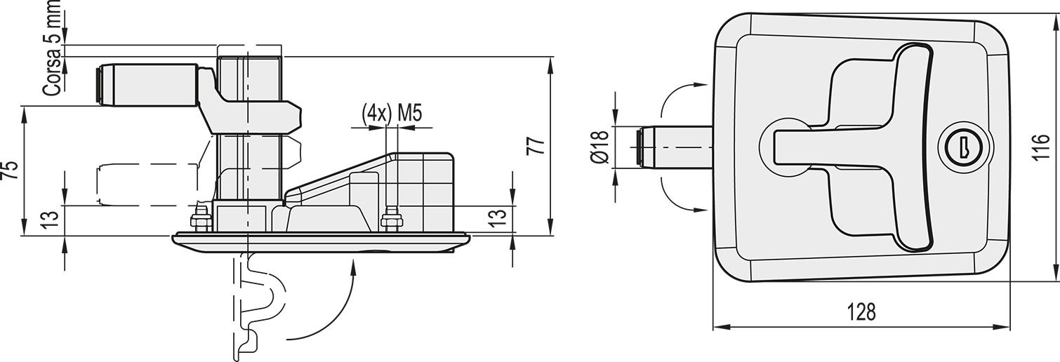 CSMH-128-BK Dimensioned drawing 2D
